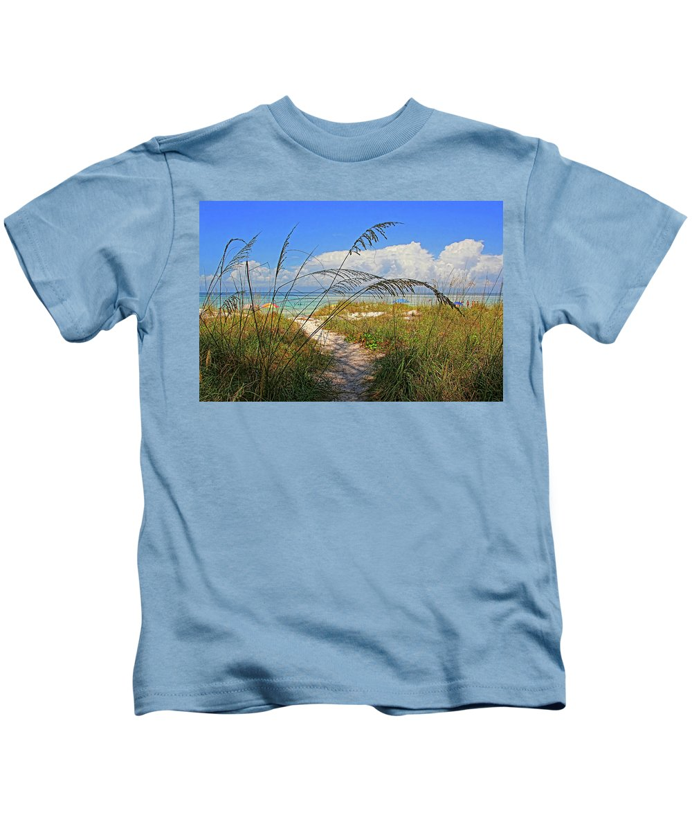 Anna Maria Island Florida Kids T-Shirt featuring the photograph A Day At The Beach by HH Photography of Florida