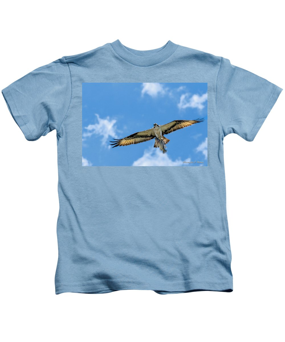 Avian Kids T-Shirt featuring the photograph A Good Day Fishing by Christopher Holmes