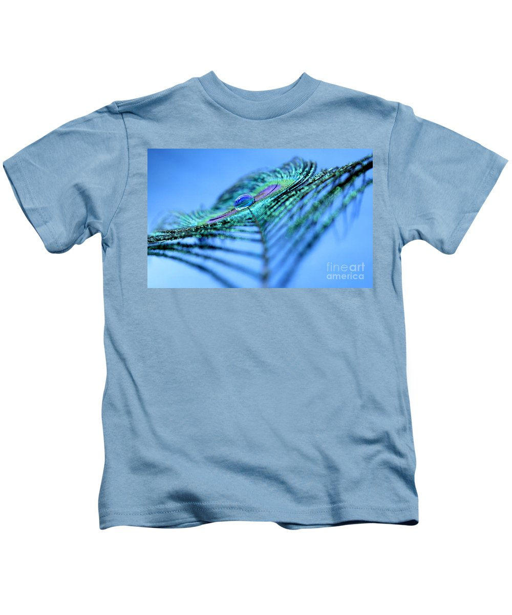 Peacock Feather Kids T-Shirt featuring the photograph A New Imagination by Krissy Katsimbras