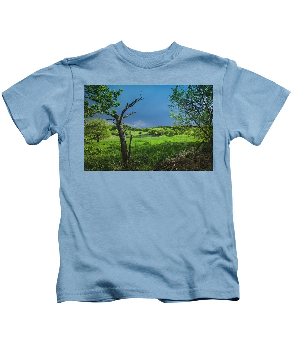 Douglas County Kids T-Shirt featuring the photograph A Pond Just Outside Of Imre... by Denny Weinmann