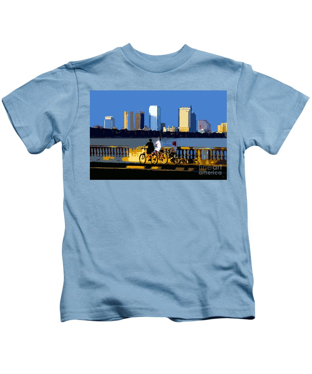 Tampa Bay Florida Kids T-Shirt featuring the painting A Tampa Bay Florida Summer by David Lee Thompson