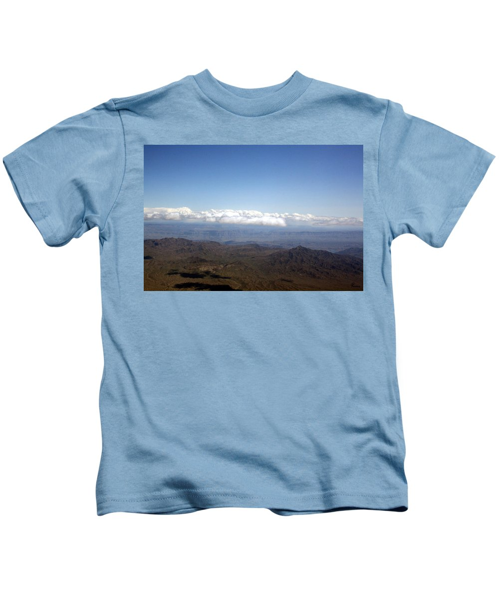 Nevada Desert Clouds Scenery Hills Landscape Sky Canyon Kids T-Shirt featuring the photograph Above Nevada by Andrea Lawrence