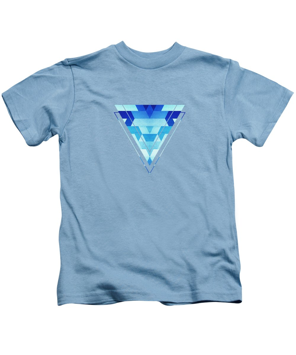 Blue Kids T-Shirt featuring the digital art Abstract Geometric Triangle Pattern Futuristic Future Symmetry In Ice Blue by Philipp Rietz
