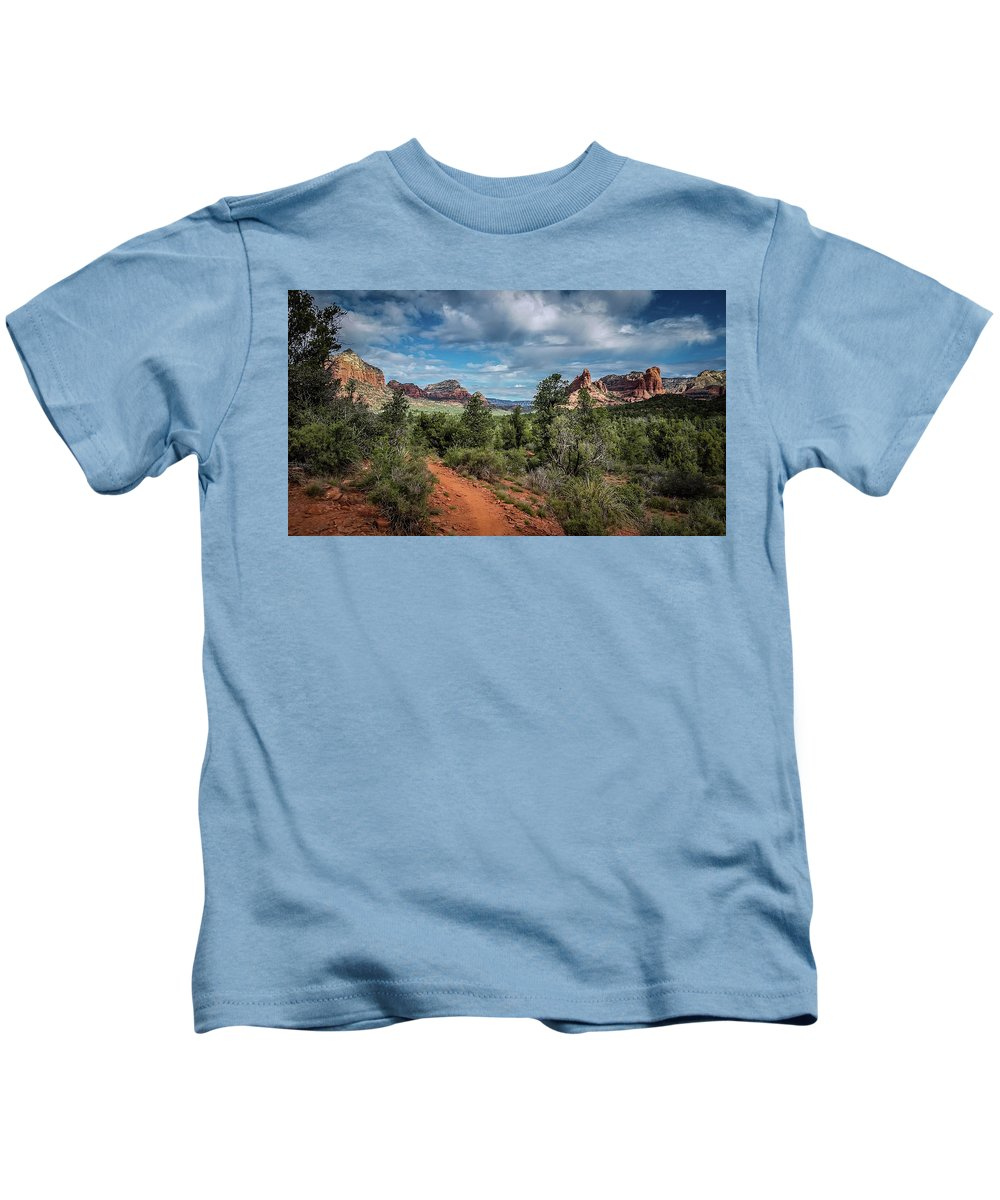 Landscape Kids T-Shirt featuring the photograph Adobe Jack Trail by Terry Ann Morris