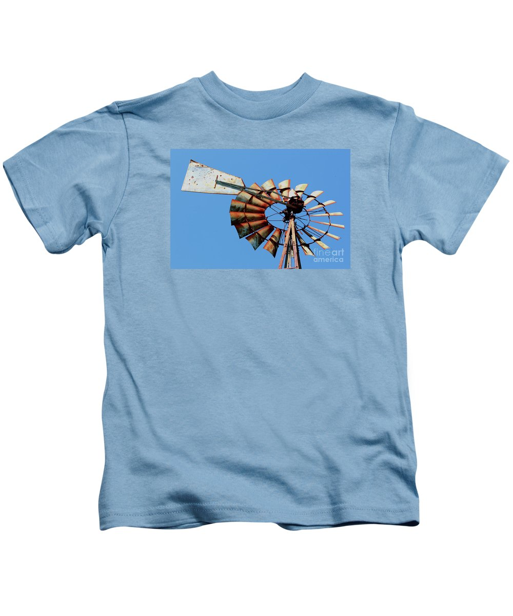 Agriculture Kids T-Shirt featuring the photograph Aeromotor In Color by Alan Look