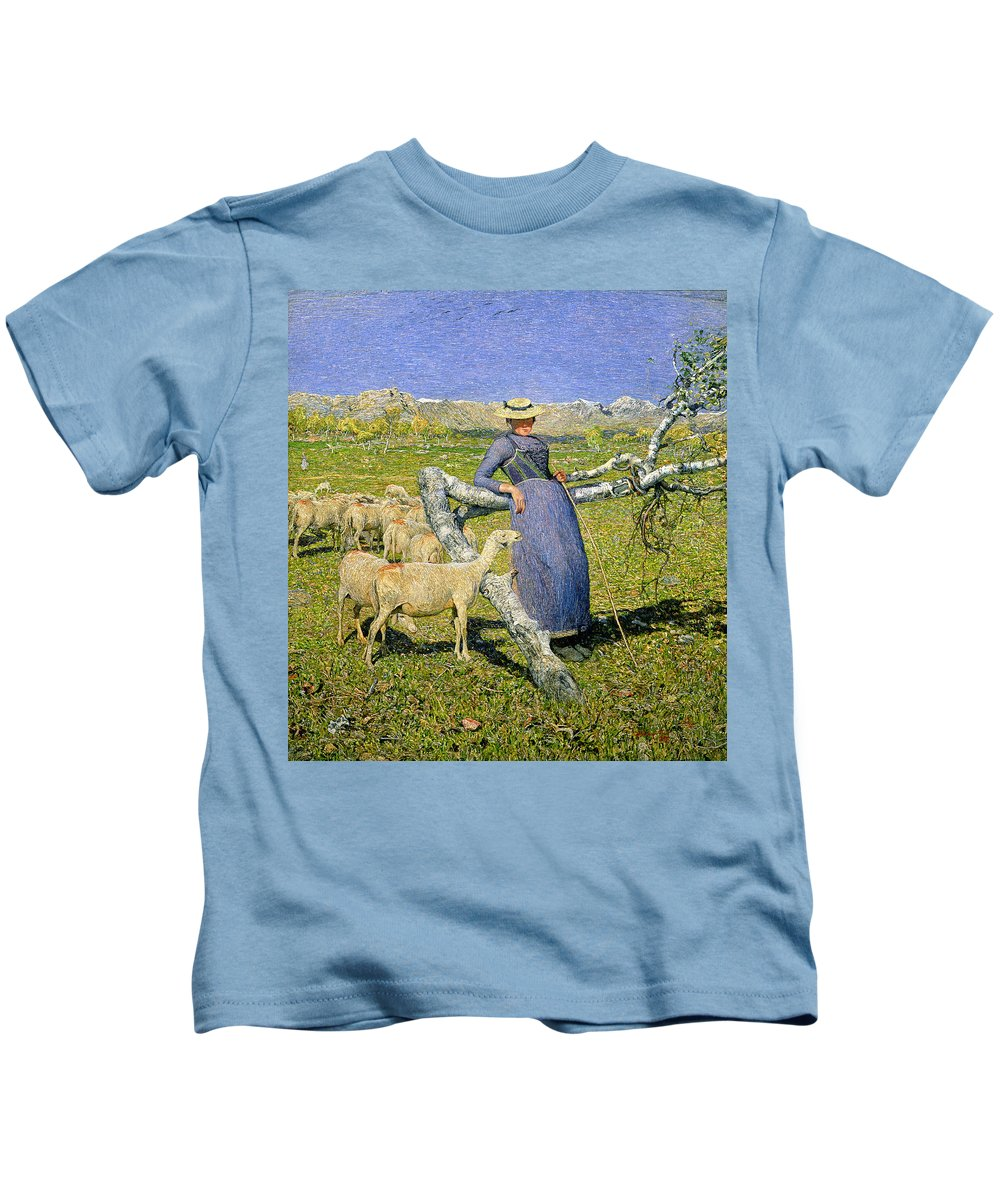 Afternoon In The Alps Kids T-Shirt featuring the painting Afternoon In The Alps by Giovanni Segantini