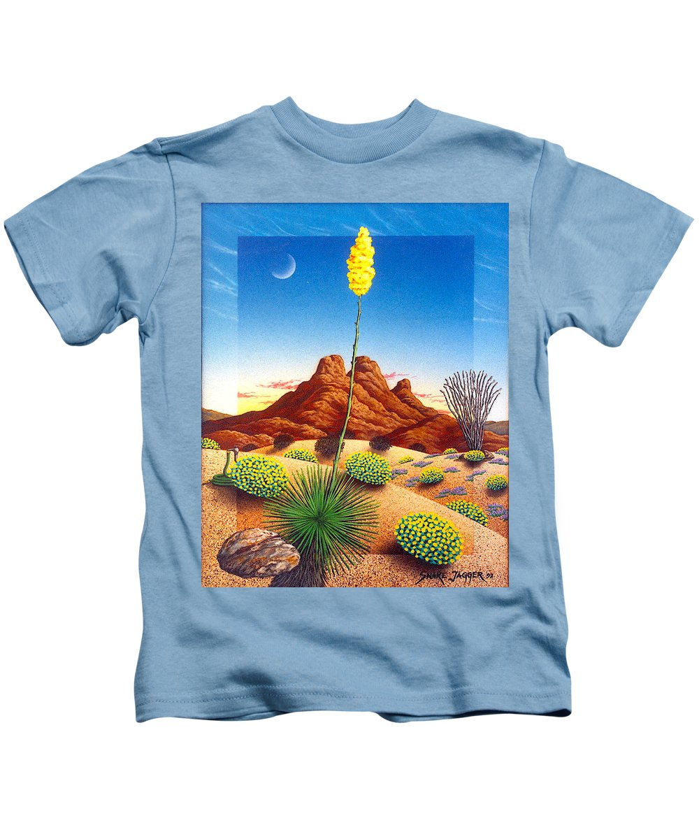 Agave Cactus Kids T-Shirt featuring the painting Agave Bloom by Snake Jagger