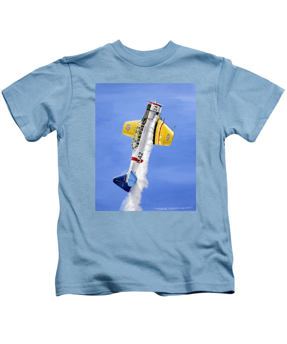 Military Kids T-Shirt featuring the painting Air Show by Marc Stewart