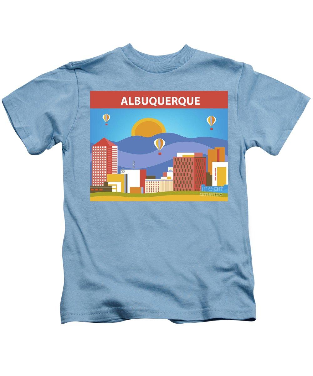 Albuquerque Kids T-Shirt featuring the digital art Albuquerque New Mexico Horizontal Skyline by Karen Young
