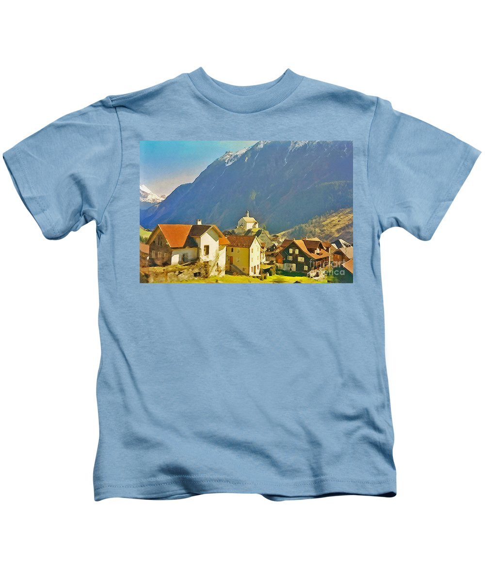 Alps Kids T-Shirt featuring the photograph Alp Village by Jost Houk
