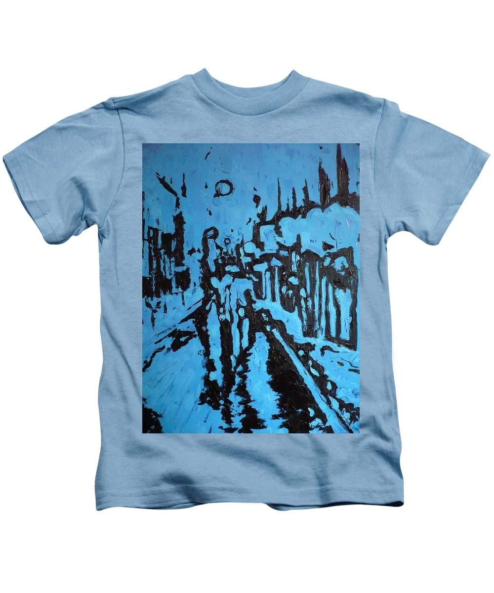 Street Kids T-Shirt featuring the painting Amsterdam At Night by Ericka Herazo