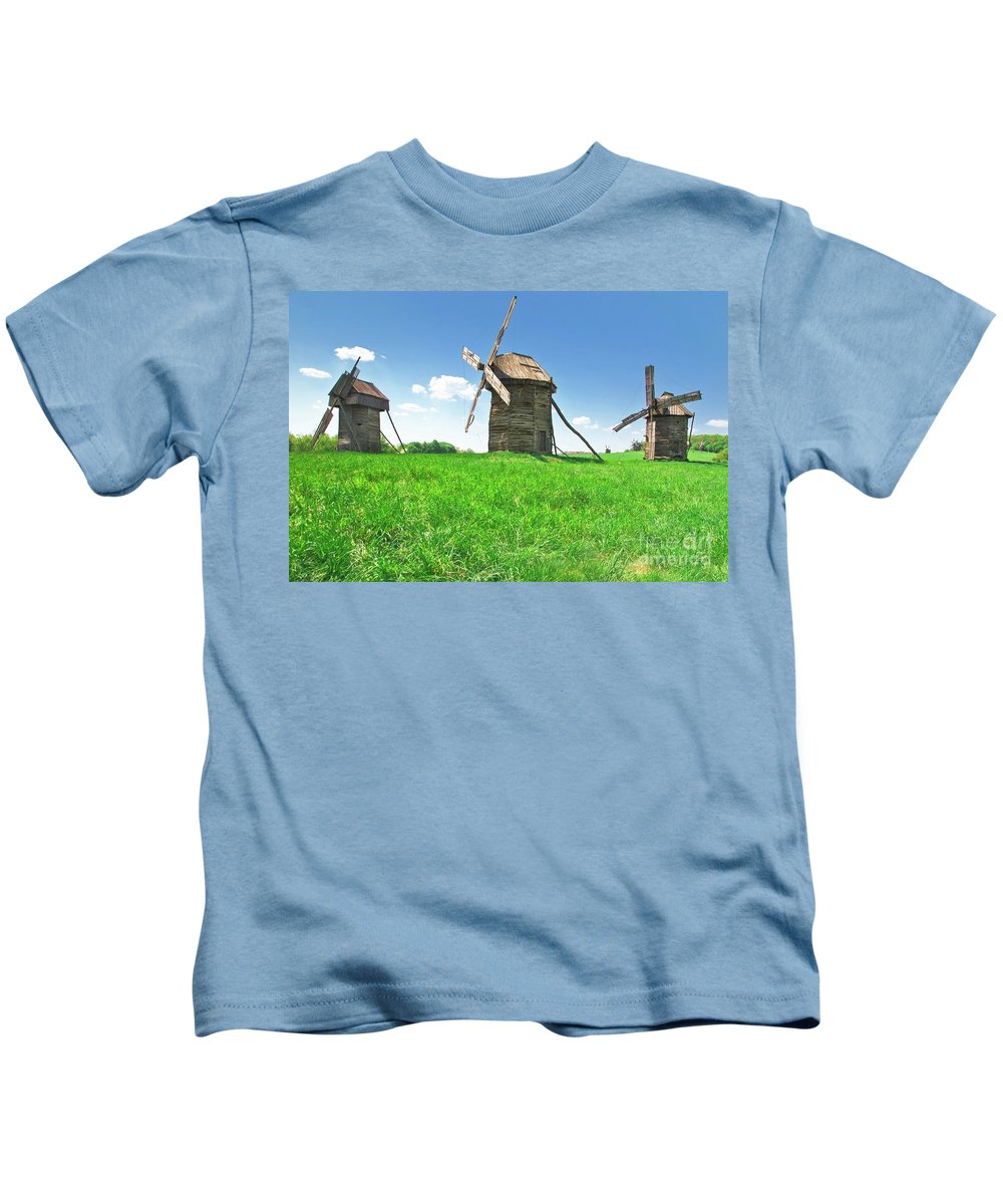 Ukraine Kids T-Shirt featuring the photograph Ancient Windmills In Field by Nataly Raikhel