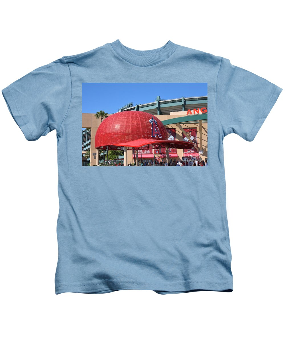 Angel Stadium Kids T-Shirt featuring the photograph Angel Cap by Tommy Anderson