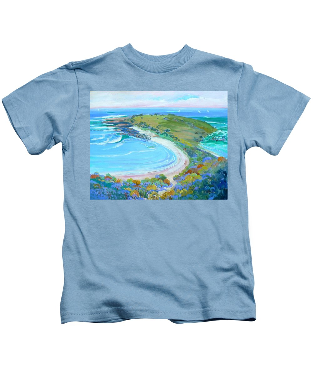 Seascape Of Headland Kids T-Shirt featuring the painting Angourie Headland by Virginia Mcgowan