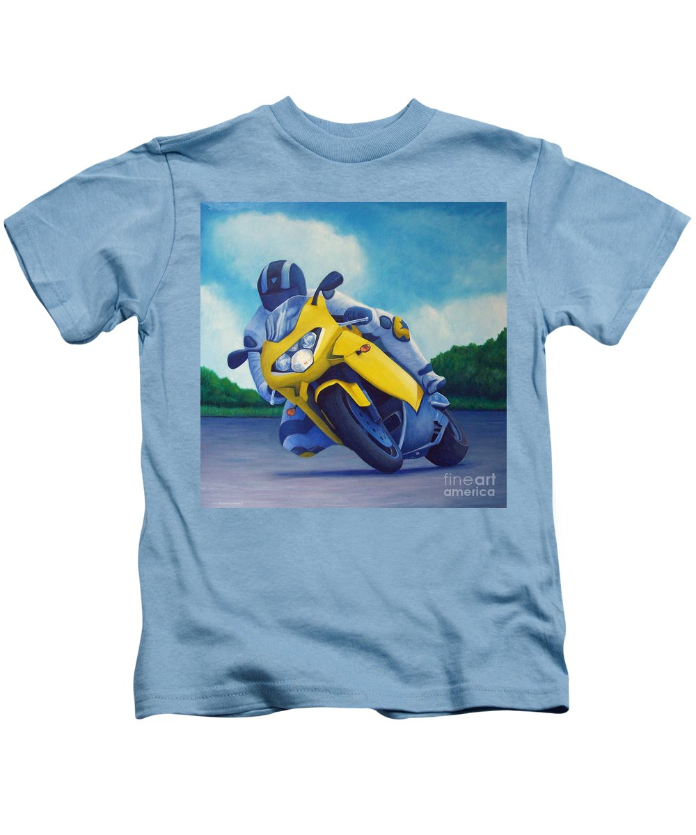 Motorcycle Kids T-Shirt featuring the painting Aprilla - Tuesday Afternoon by Brian Commerford
