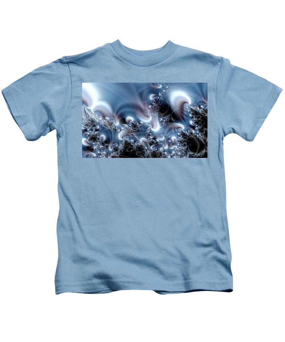 Water Bubbles Blue Nature Flow Kids T-Shirt featuring the digital art Aquafractal by Veronica Jackson