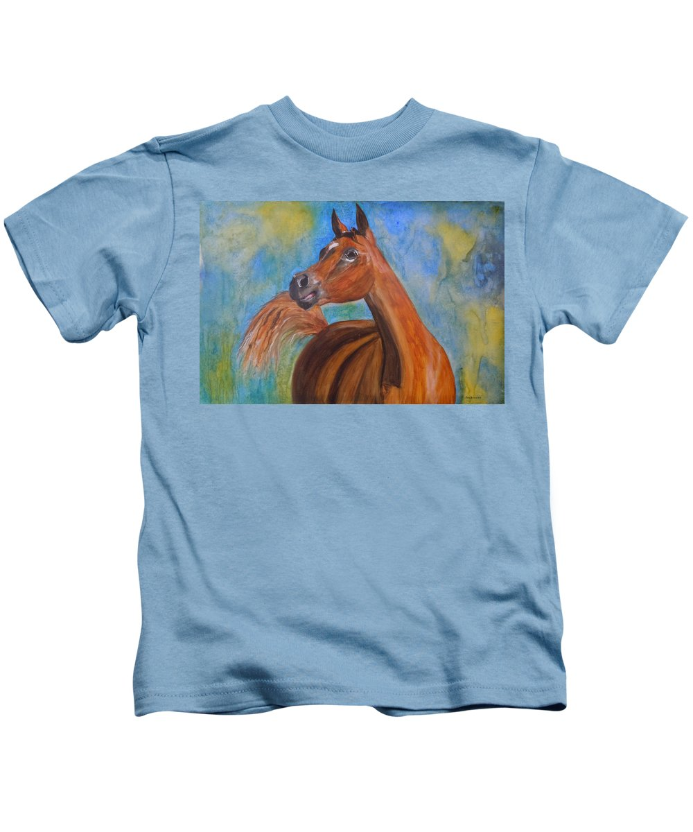 Horse Kids T-Shirt featuring the painting Arabian Beauty by Jean Blackmer