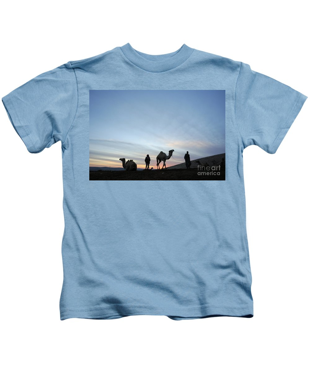Middle East Kids T-Shirt featuring the photograph Arabian Camel At Sunset by PhotoStock-Israel