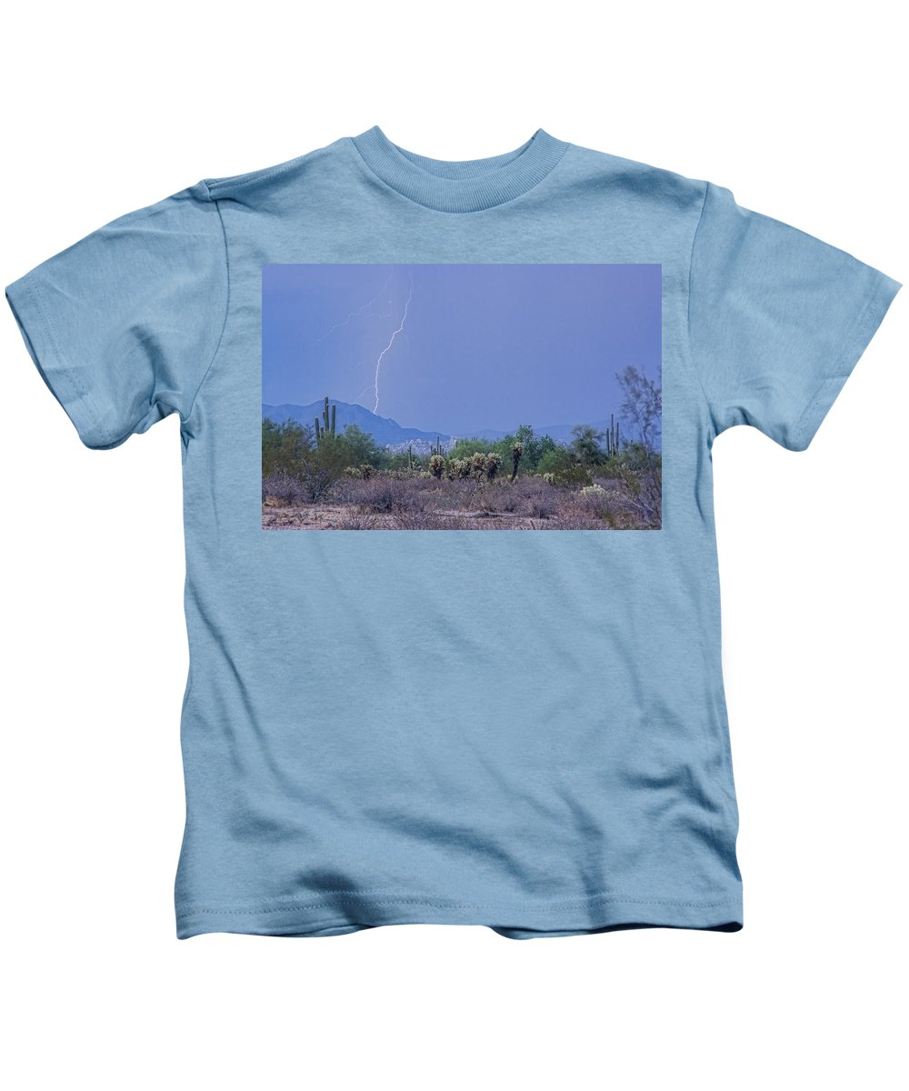 Lightning Kids T-Shirt featuring the photograph Arizona Desert by James BO Insogna
