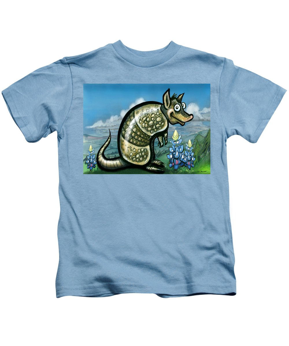 Armadillo Kids T-Shirt featuring the painting Armadillo N Bluebonnets by Kevin Middleton