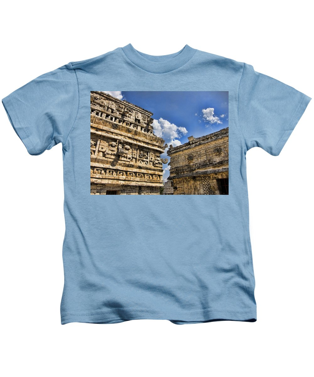 Chichen Itza Ruins Kids T-Shirt featuring the photograph Art Of Architecture by Douglas Barnard