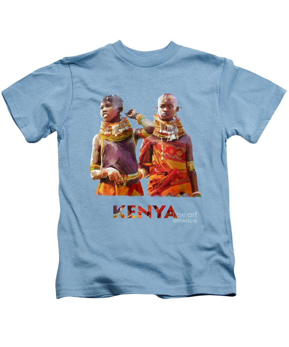 Tradition Kids T-Shirt featuring the painting Young Turkana Girls by Anthony Mwangi