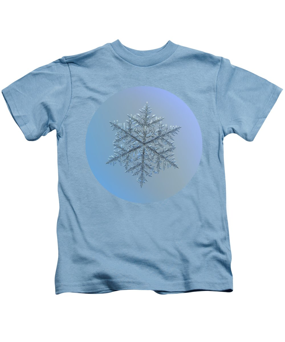 Snowflake Kids T-Shirt featuring the photograph Snowflake Photo - Majestic Crystal by Alexey Kljatov
