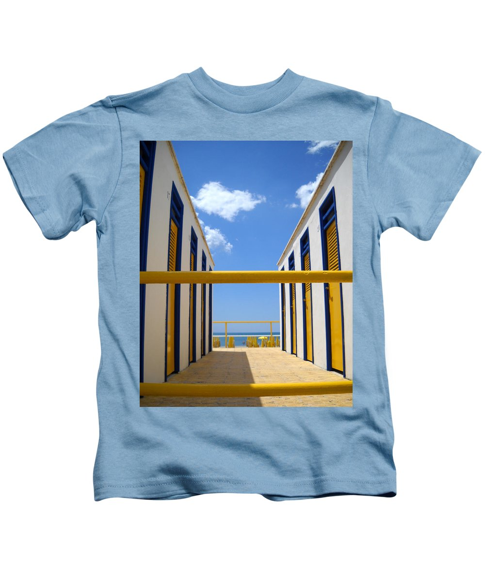 Blue Kids T-Shirt featuring the photograph At The Seashore 2 by Tom Reynen