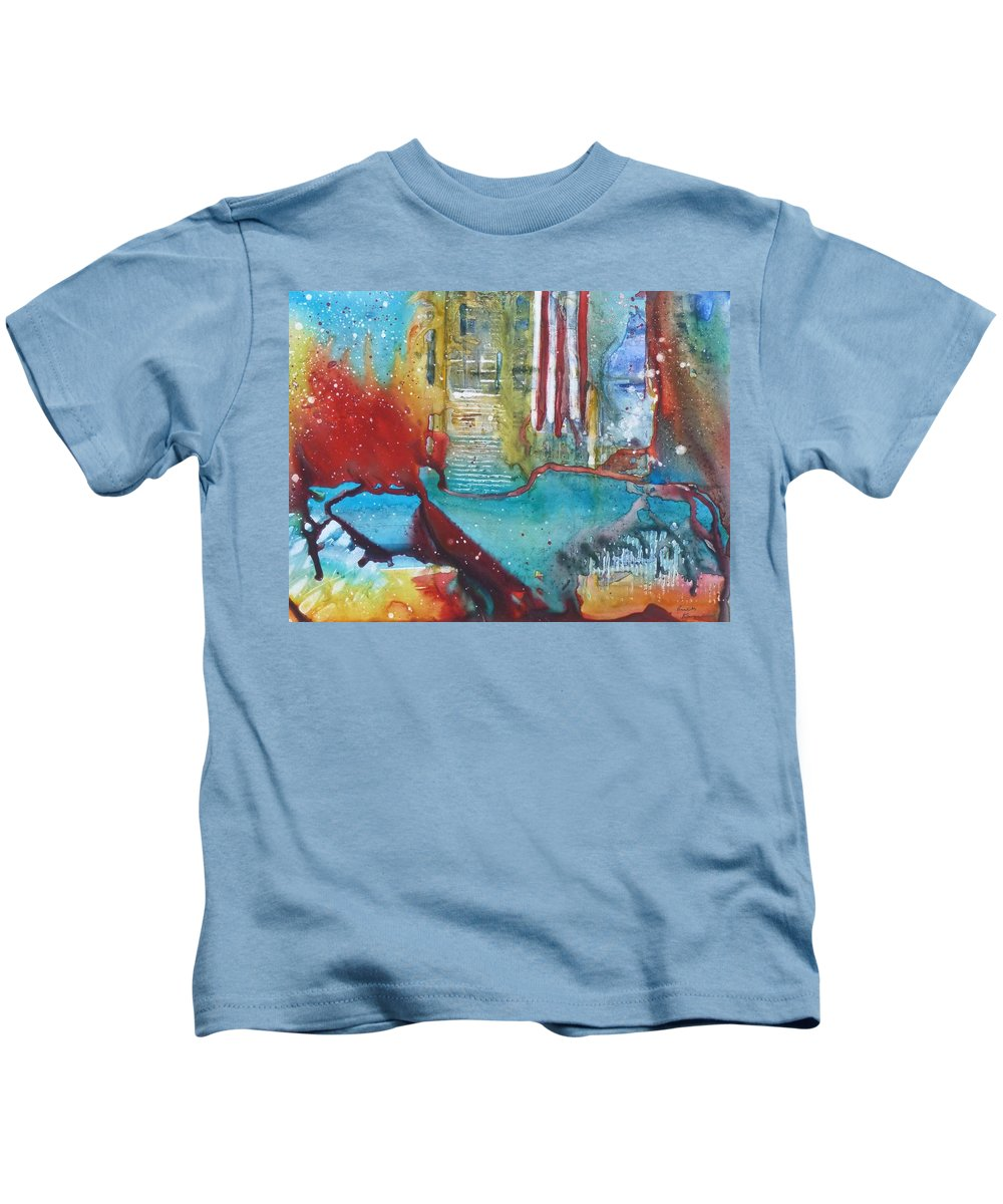 Abstract Kids T-Shirt featuring the painting Atlantis Crashing Into The Sea by Ruth Kamenev