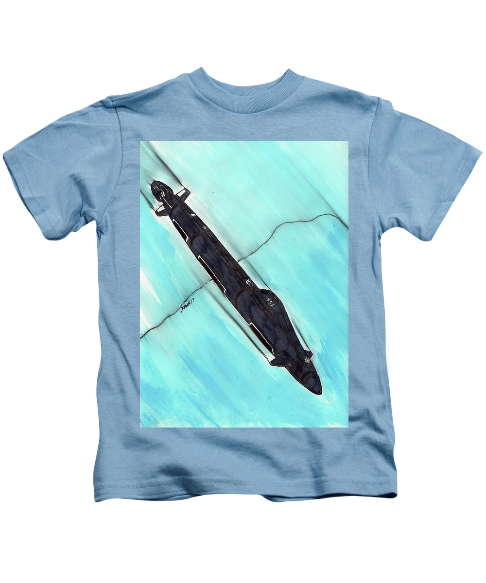 Submarine Kids T-Shirt featuring the mixed media Attack Submarine Guardfish by Ronald Woods