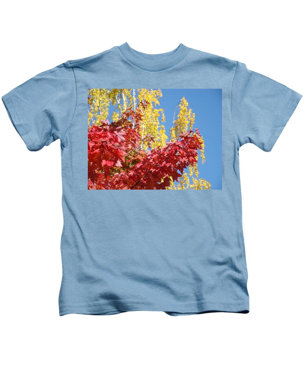 Autumn Kids T-Shirt featuring the photograph Autumn Trees Red Yellow Fall Tree Blue Sky Landsape by Baslee Troutman