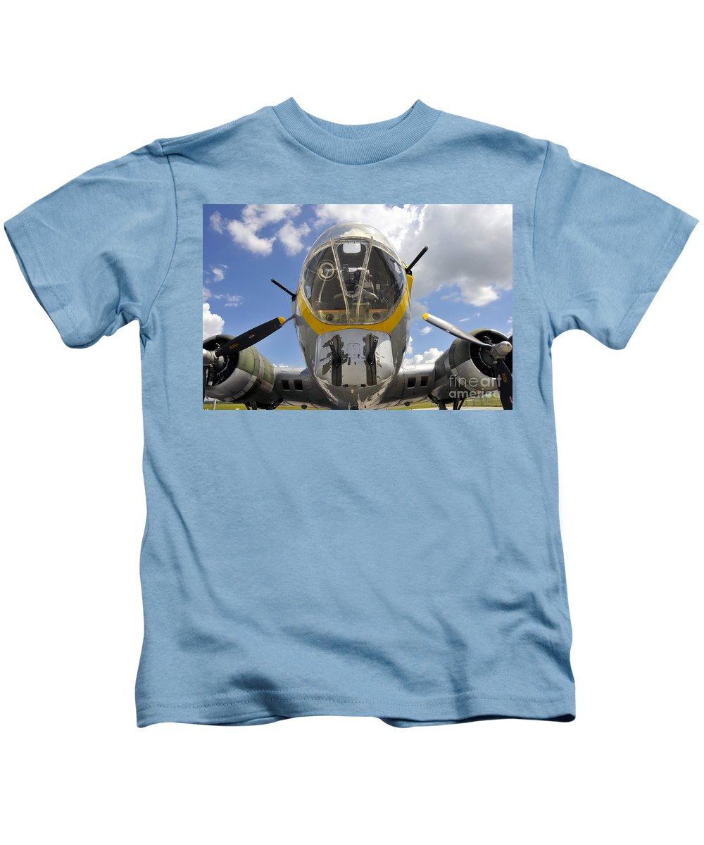 B 17 Kids T-Shirt featuring the photograph B Seventeen Nose by David Lee Thompson