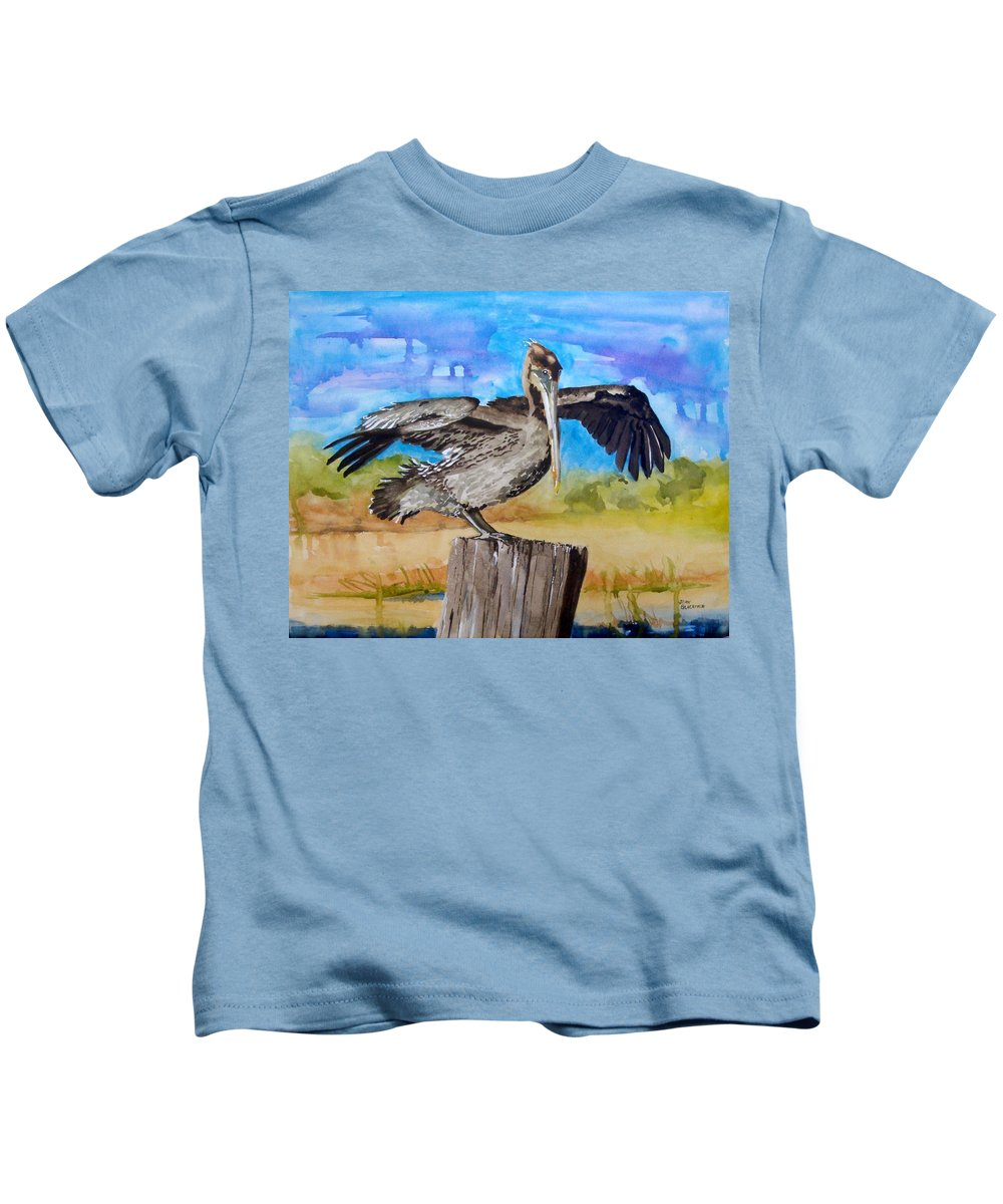 Pelican Kids T-Shirt featuring the painting Baby Spreads His Wings by Jean Blackmer