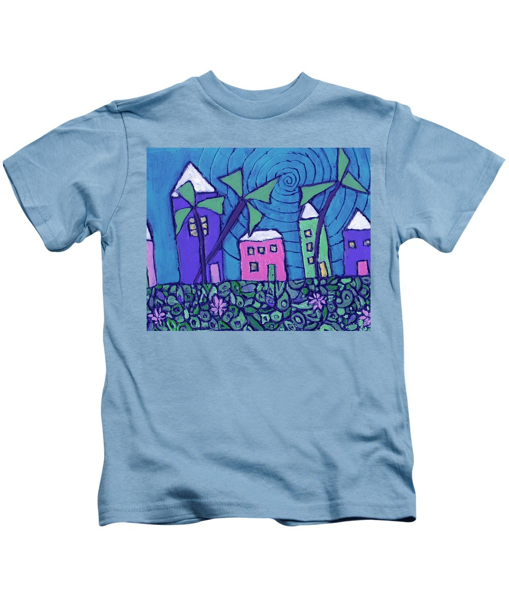 Whimsical Kids T-Shirt featuring the painting Back Home On The Island by Wayne Potrafka
