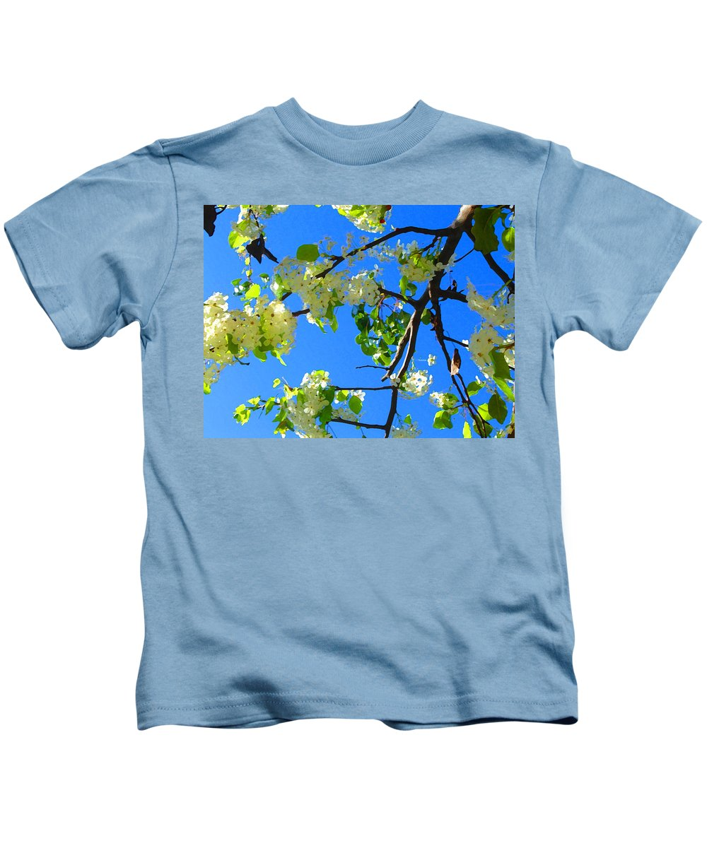 Tree Blossoms Kids T-Shirt featuring the painting Backlit White Tree Blossoms by Amy Vangsgard
