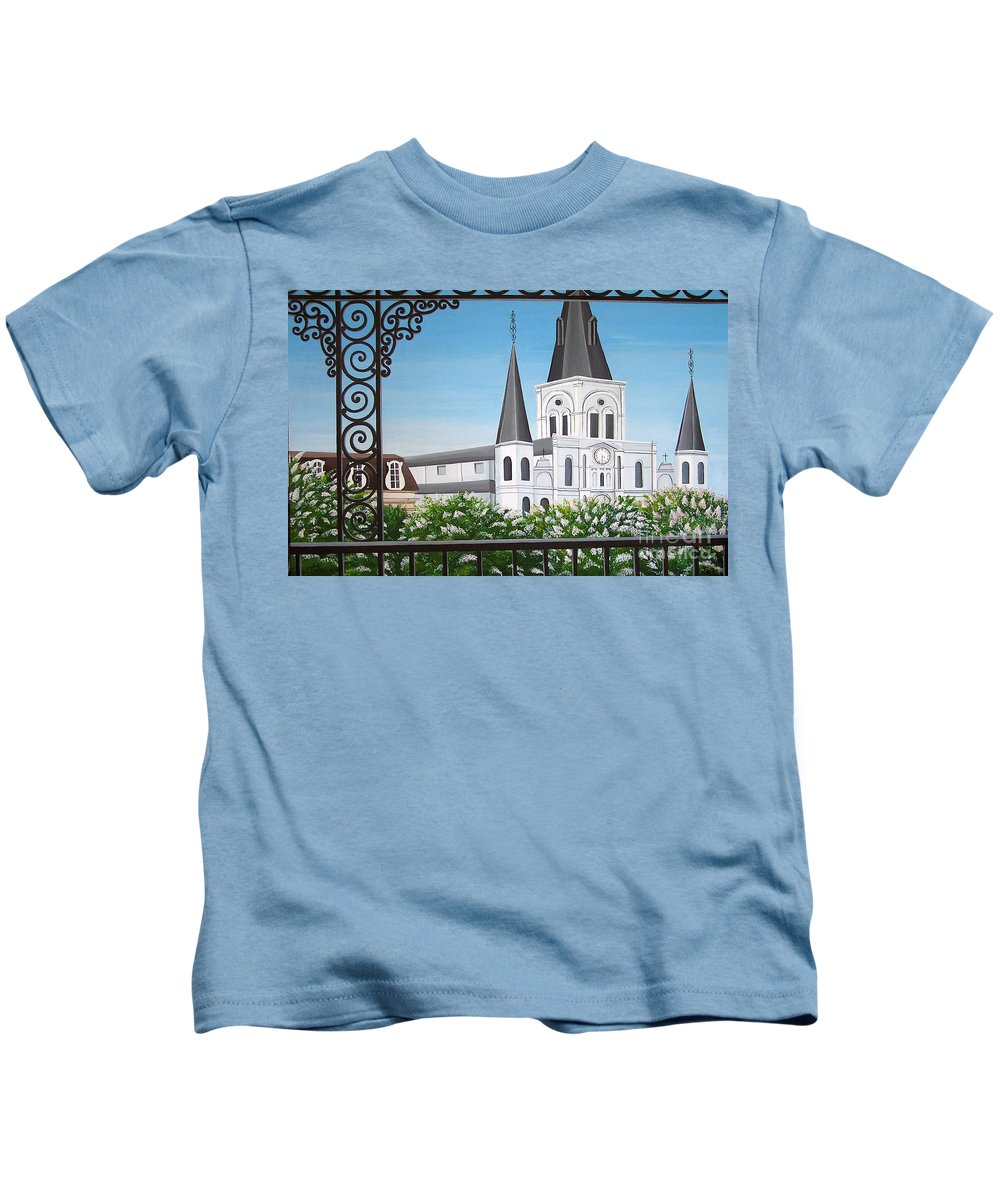 New Orleans Kids T-Shirt featuring the painting Balcony View Of St Louis Cathedral by Valerie Carpenter