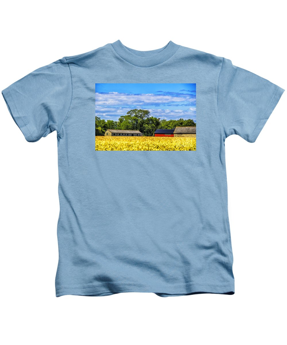 Barns Kids T-Shirt featuring the photograph Barns In The Distance by Roberta Bragan