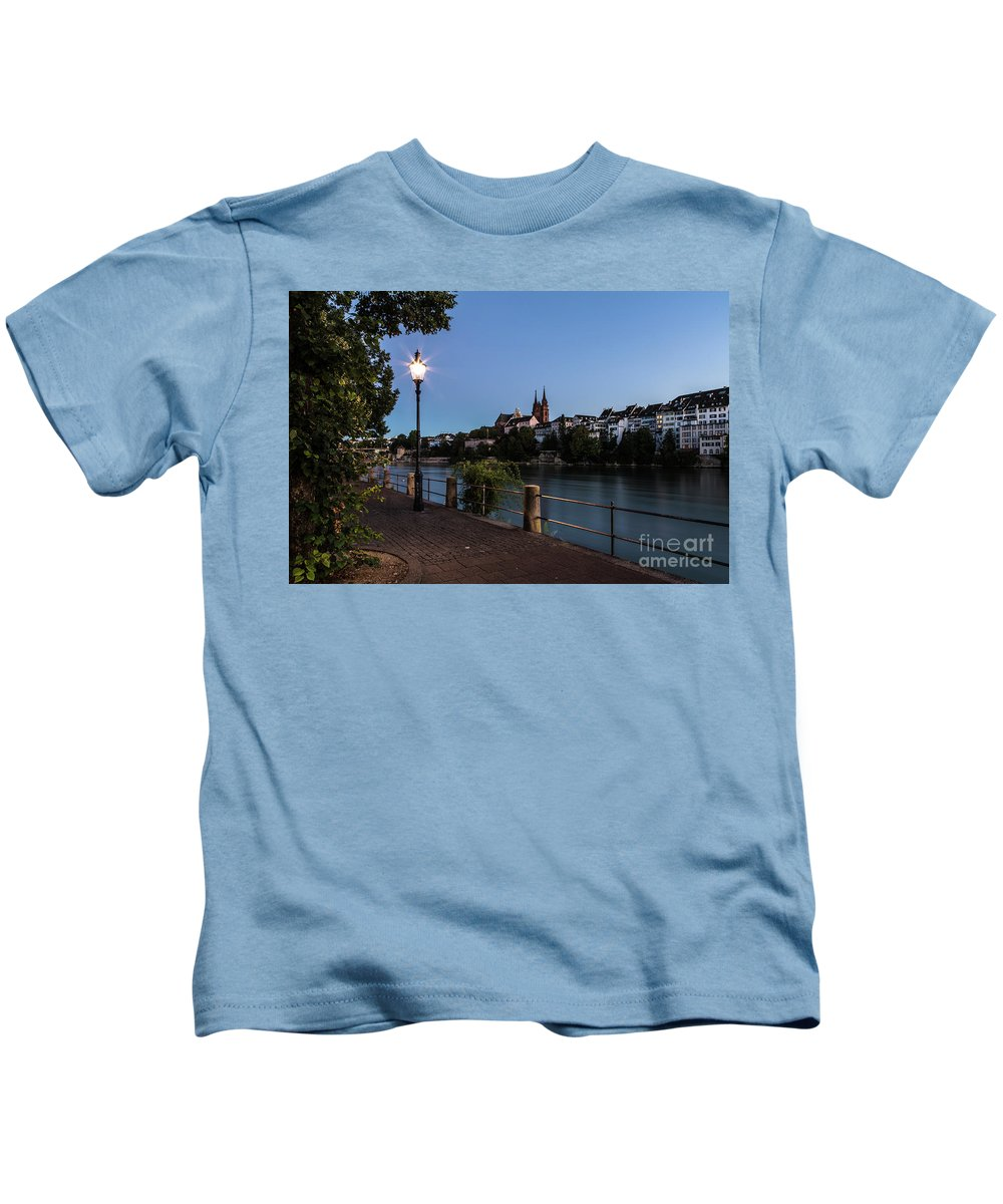 Basel Kids T-Shirt featuring the photograph Basel At Night by Didier Marti