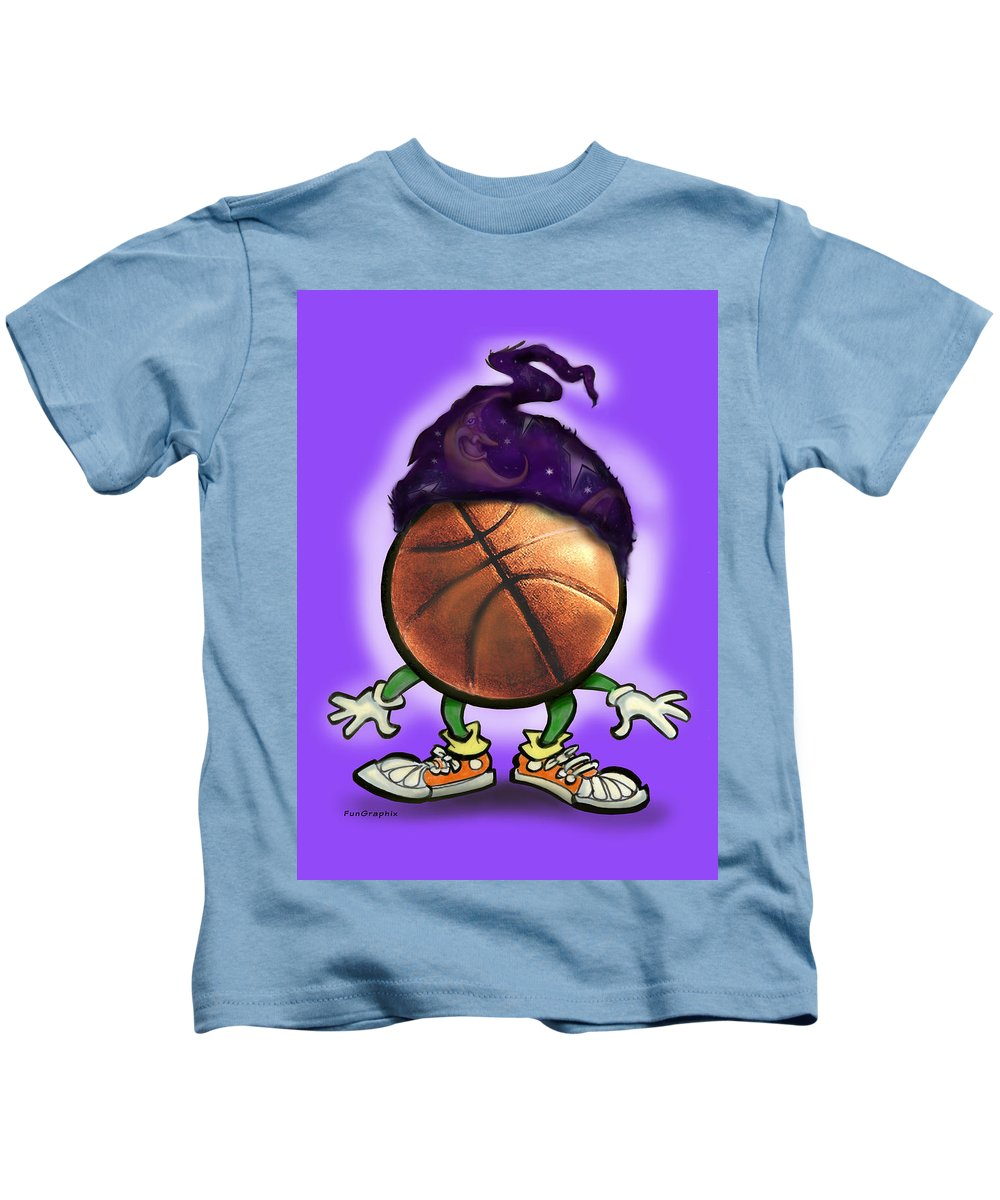 Basketball Kids T-Shirt featuring the greeting card Basketball Wizard by Kevin Middleton