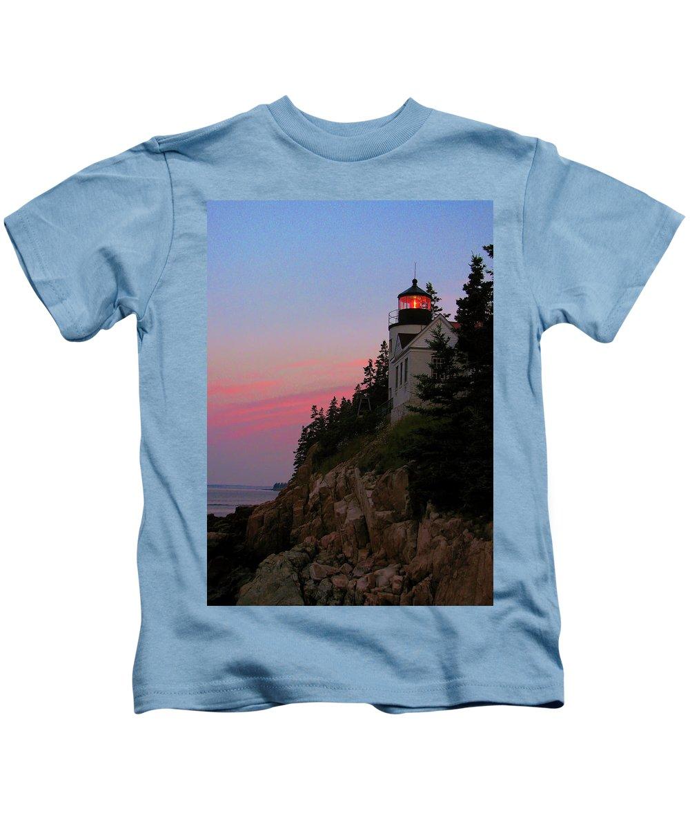 Bass Harbor Lighthouse Kids T-Shirt featuring the photograph Bass Harbor Lighthouse by Jeff Heimlich