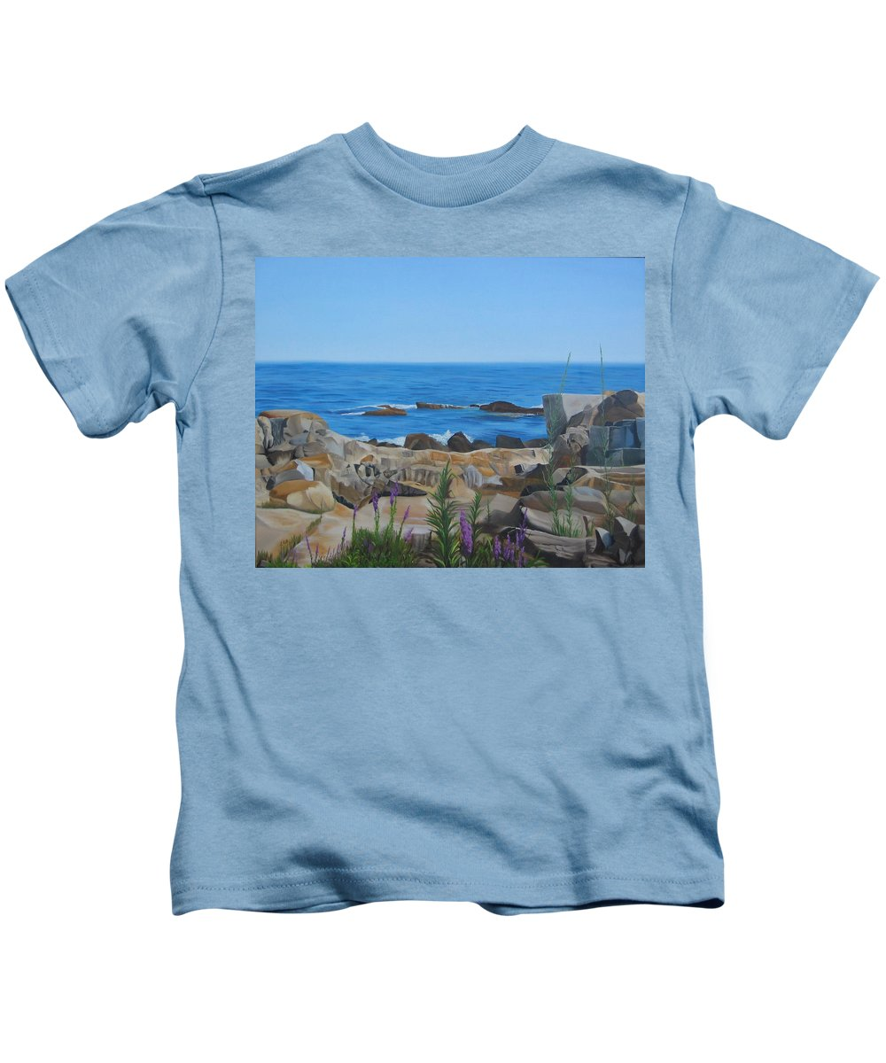 Seascape Kids T-Shirt featuring the painting Bass Rocks Gloucester by Lea Novak