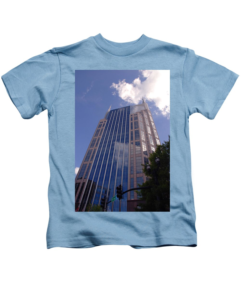 Att House Kids T-Shirt featuring the photograph Batman Building In Down Town Nashville by Susanne Van Hulst