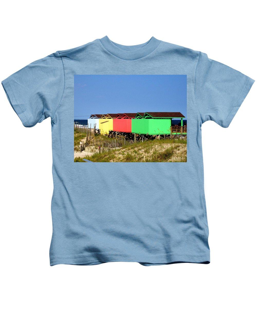 Beach Kids T-Shirt featuring the photograph Beach Cabanas by Deborah Crew-Johnson