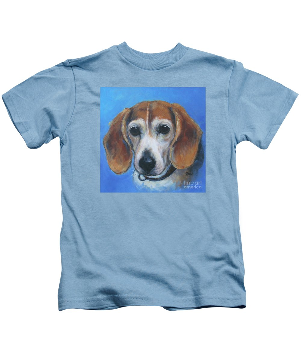 Beagle Kids T-Shirt featuring the painting Beagle by Vickie Fears