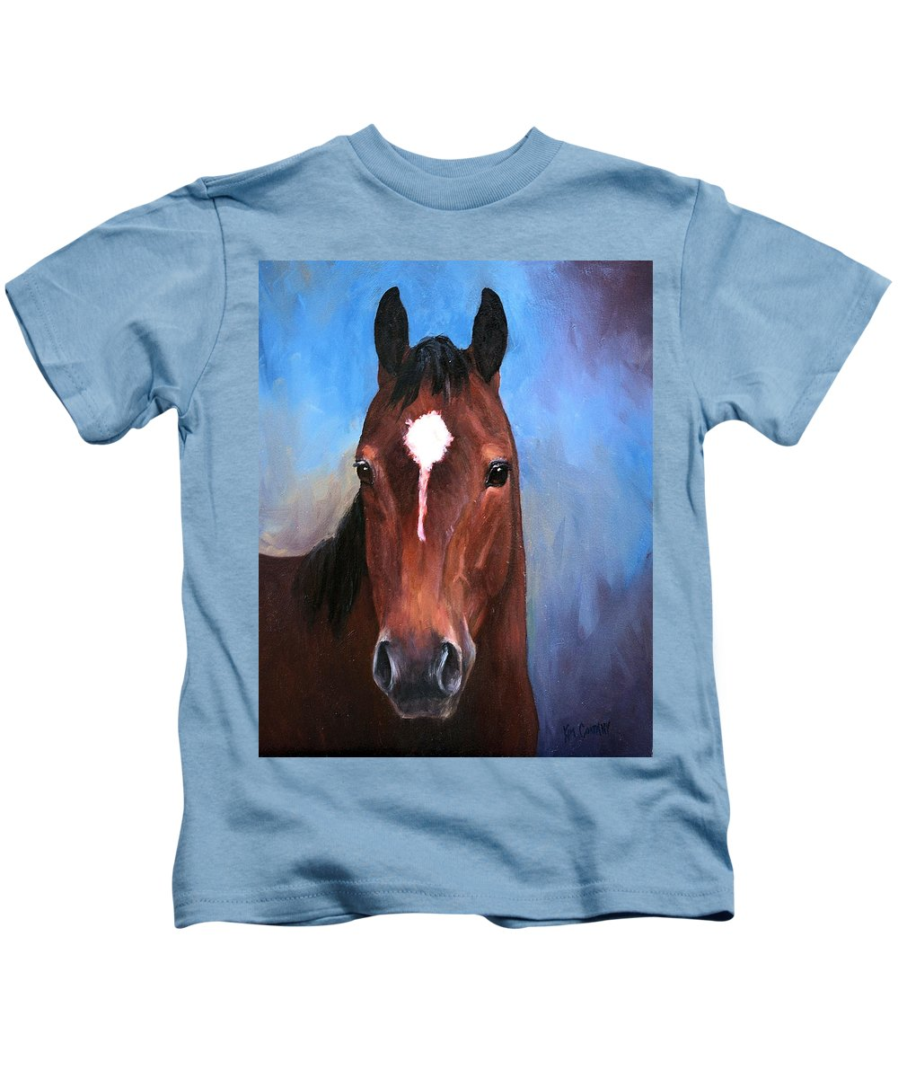 Horse Kids T-Shirt featuring the painting Beau Quarter Horse Portrait by Kim Corpany