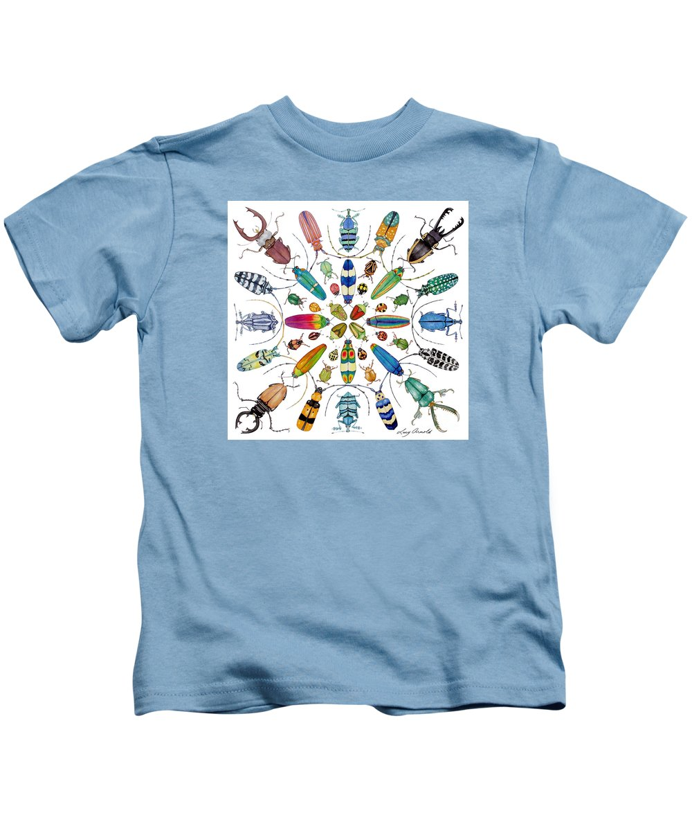 Insects Kids T-Shirt featuring the painting Beautiful Beetles by Lucy Arnold