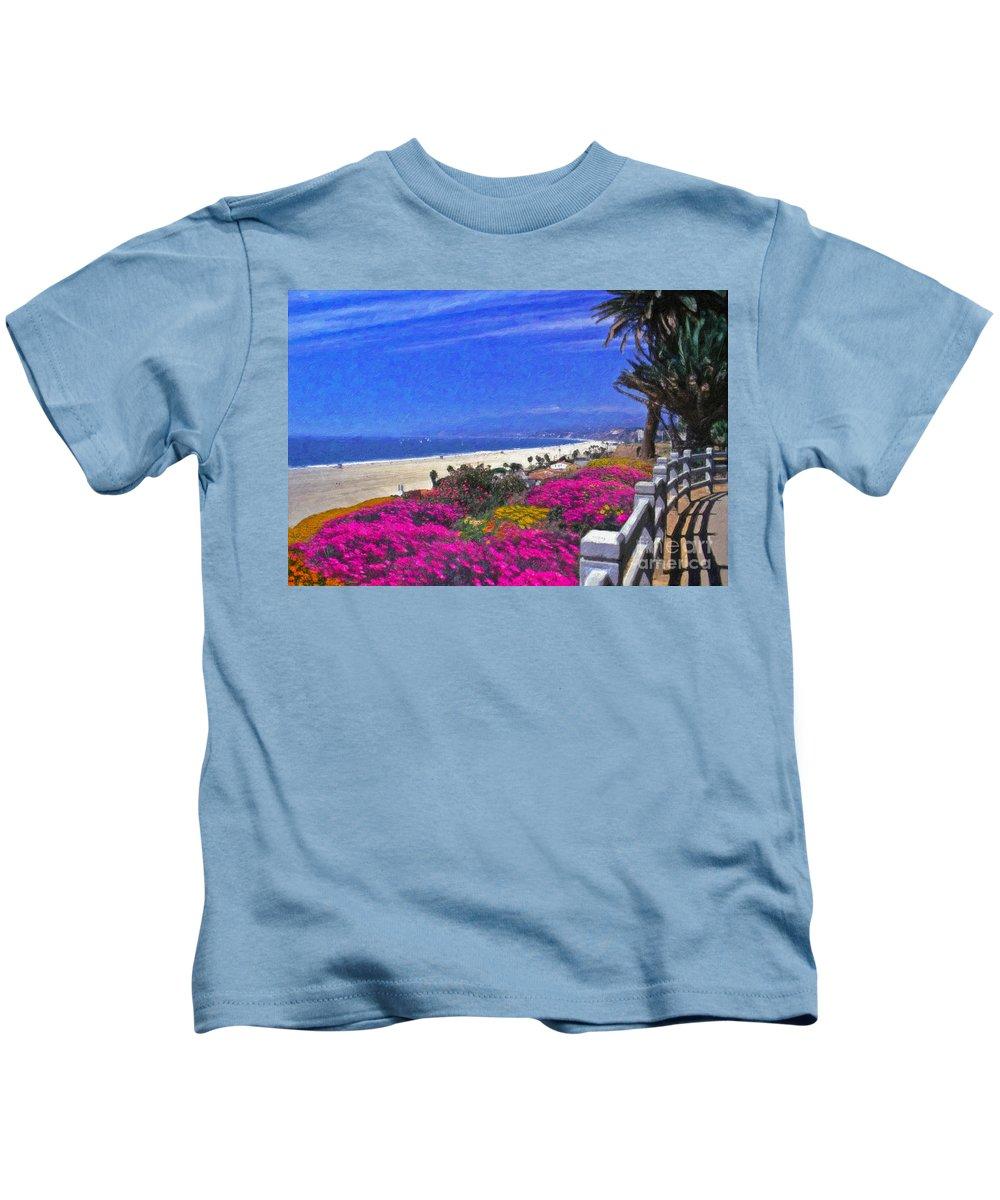 Beautiful Santa Monica Ca Palisades Park View Malibu Point Dume Kids T-Shirt featuring the photograph Beautiful Santa Monica Ca by David Zanzinger