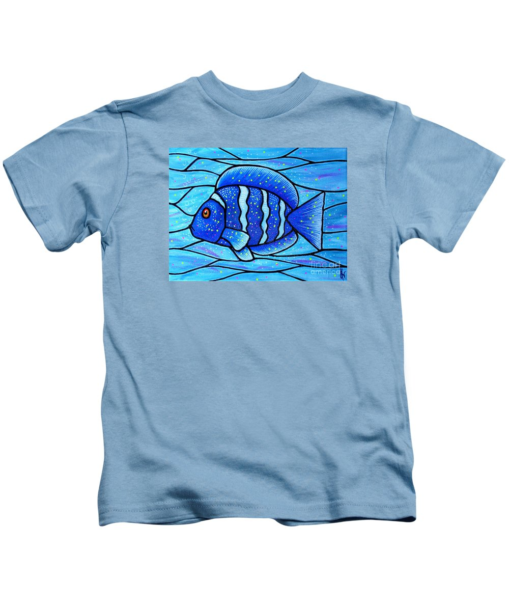 Tropical Fish Kids T-Shirt featuring the painting Beckys Blue Tropical Fish by Jim Harris