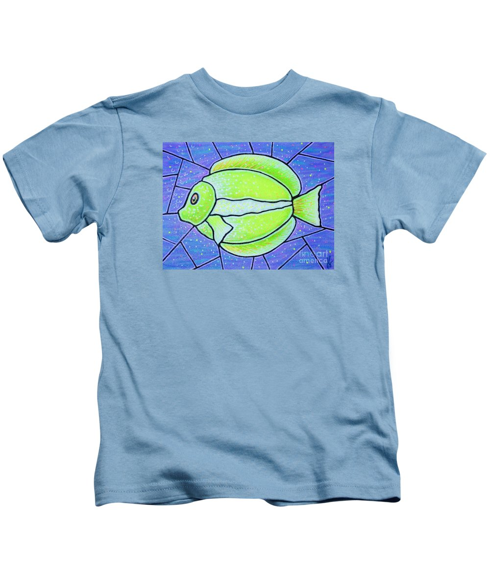 Tropical Fish Kids T-Shirt featuring the painting Beckys Yellow Tropical Fish by Jim Harris