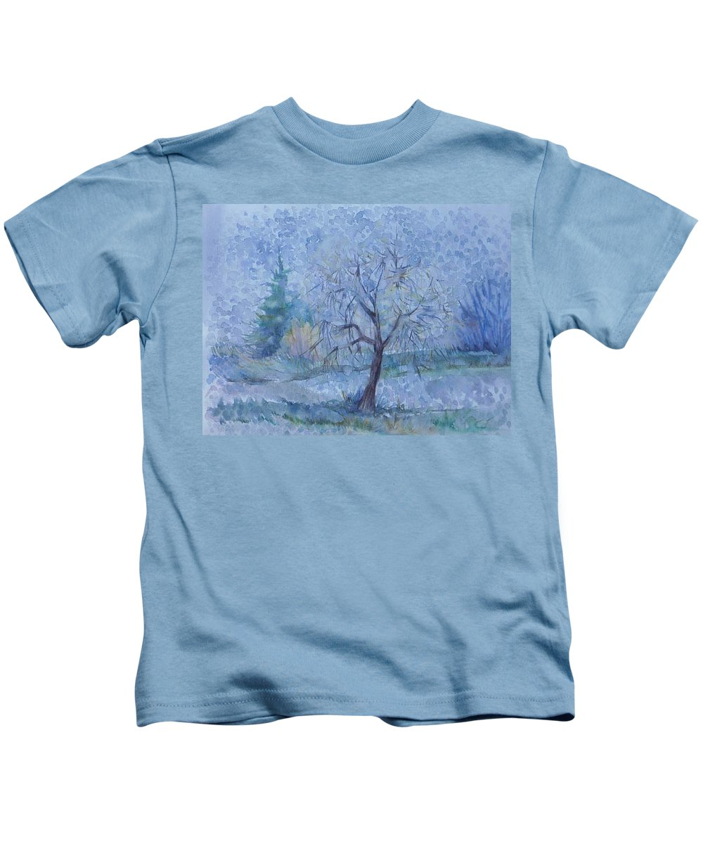 Autumn Kids T-Shirt featuring the painting Beginning Of Another Winter by Anna Duyunova